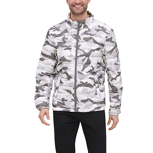 Tommy Hilfiger Men's Lightweight Water Resistant Packable Down Puffer Jacket (Standard and Big & Tall), white camouflage, Large