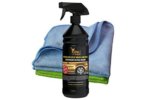 King of Sheen, Advanced Ultra Nano, Eco wasserlos Autowasche und Autowachs mit Carnauba Sprühwachs 1 l + 2 Profi Auto Mikrofasertücher,Ideal für Winter-Auto-Pflege, (nicht mehr kalte, nasse Hände!!)