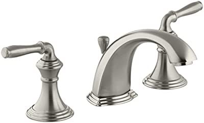 Bathroom Faucet by KOHLER, Bathroom Sink Faucet, Devonshire Collection, 2-Handle Widespread Faucet with Metal Drain, Vibrant Brushed Nickel, K-394-4-BN