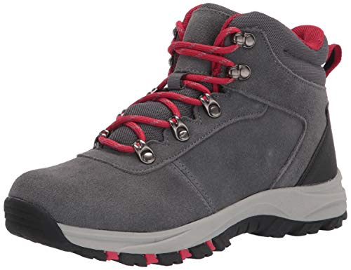 Amazon Essentials Kids' Round Toe Boot Hiking Shoe, Grey, 4 Medium US Big Kid