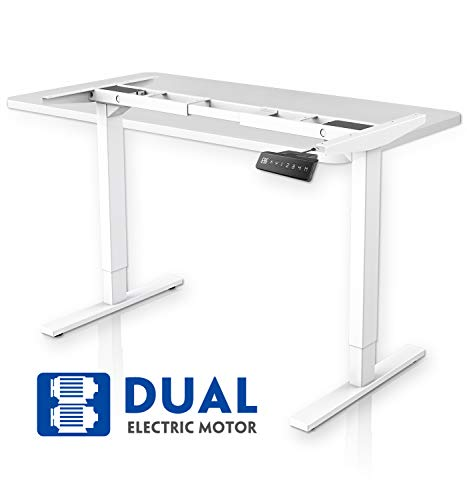 MAIDeSITe Höhenverstellbarer Schreibtisch mit 2 Motoren Elektrisch Höhenverstellbares Tischgestell, 2-Bühne Hebe Passt für alle gängigen Tischplatten Beine|Kollisionsschutz|MemoryFunktion(Weiß)