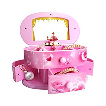 Qulable Musical Jewelry Box,Girl s Musical Jewelry Storage Box with Drawer and Dancing Ballerina Makeup Mirror Music Box Jewelry Storage Music Box for Kids Children  Pink