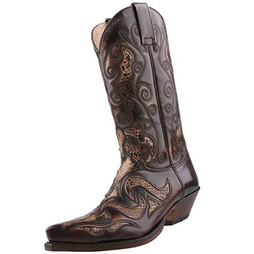 Sendra Cowboystiefel 7428 Schlangenleder-Imitat Braun, Schuhgröße:EUR 42