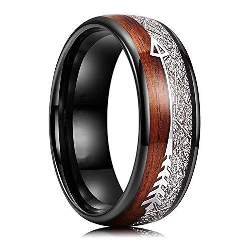CHCO 8mm Mode Schwarz Edelstahl Ring Meteorit Holz Inlay Pfeil Verlobungsring Hochzeitsschmuck Geschenke Für Ihn Ring 8 Schwarz