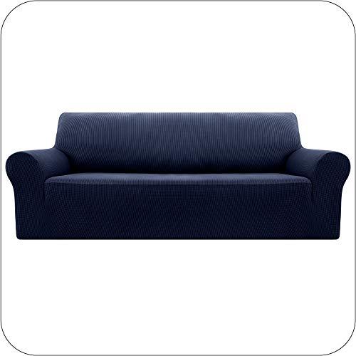 Amazon Brand - Umi Fundas para Sofa Fundas de Sofa Ajustables 4 Plazas Elasticas Anti Gatos Funda Protectora para Salon Azul Marino