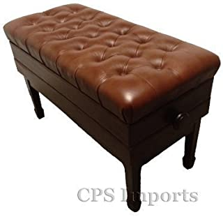 Adjustable Duet Size Genuine Leather Artist Concert Piano Bench Stool in Walnut Satin with Music Storage