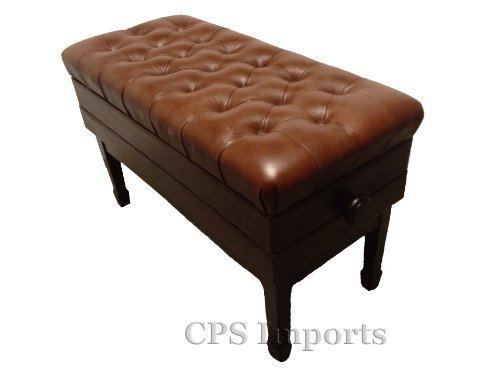 Great Deal! Genuine Leather Adjustable Duet Size Artist Concert Piano Bench Stool in Walnut Satin wi...