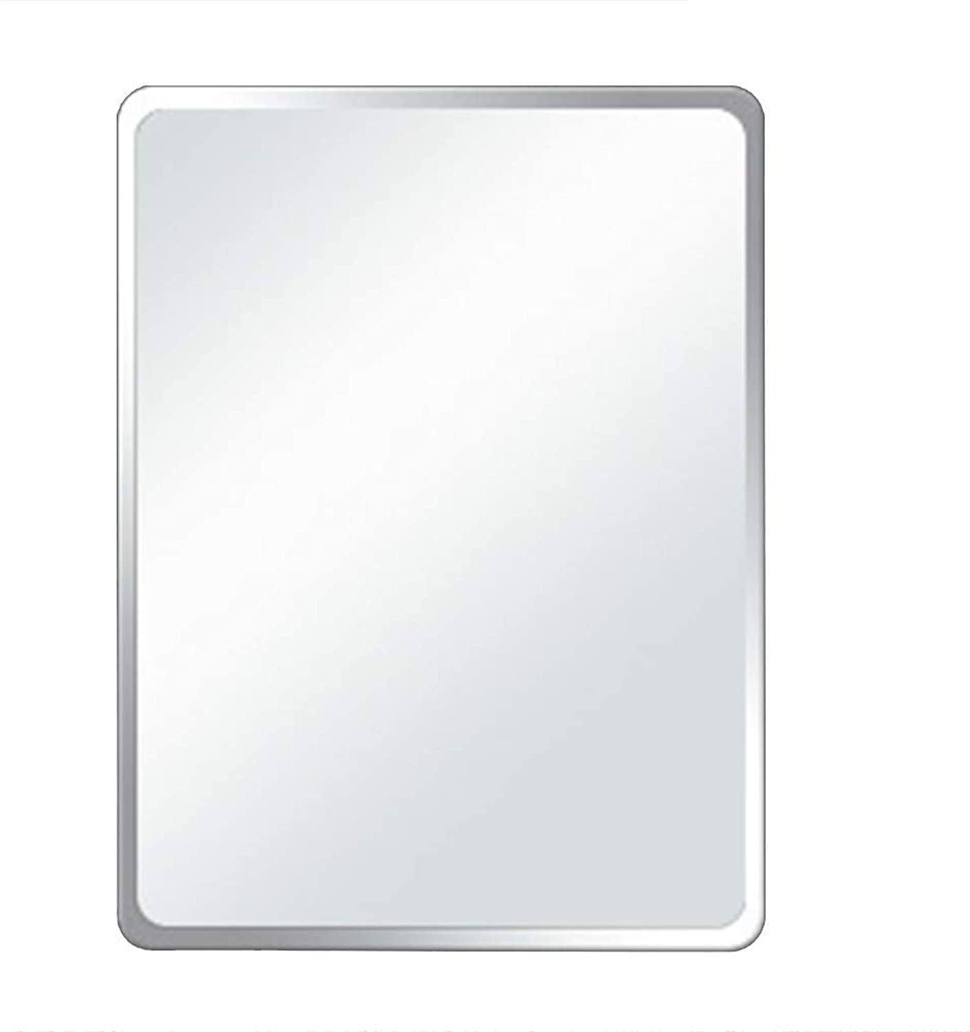 Bathroom Mirror Safety Explosion Wall-Mounted Frameless Rectangular Hypotenuse Right Angle Fillet (color   B, Size   13.7  17.7in)