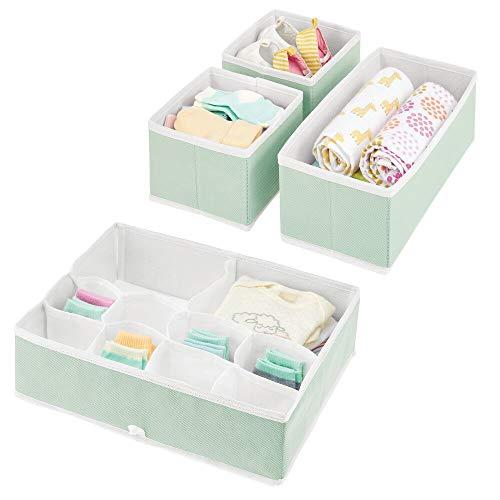mDesign 4er-Set Kinderzimmer Aufbewahrungsbox – stilvolle Stoff Aufbewahrungskisten in verschiedenen Größen – Kinderschrank Organizer aus atmungsaktiver Kunstfaser – mintgrün/weiß