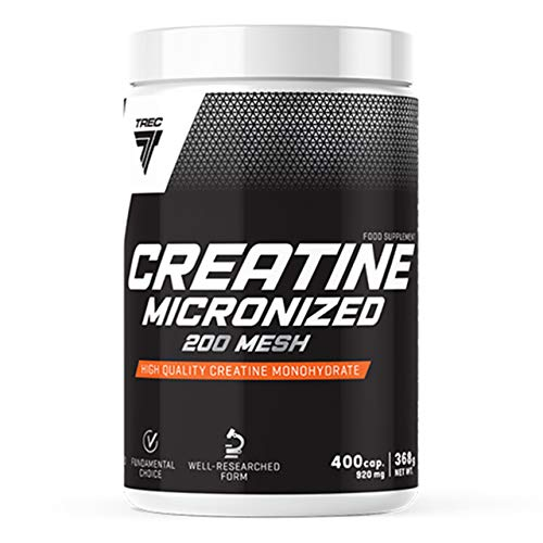 Trec Nutrition Creatine Micronized 200 Mesh Package of 1 x 400 Capsules - Creatine Micronized Monohydrate - Supplement for Muscle Strength - Without Additionals