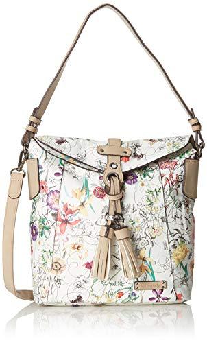 Tamaris Damen Adelia Hobo Bag S Schultertasche, Weiß (Off White Comb), 11x25x24 cm