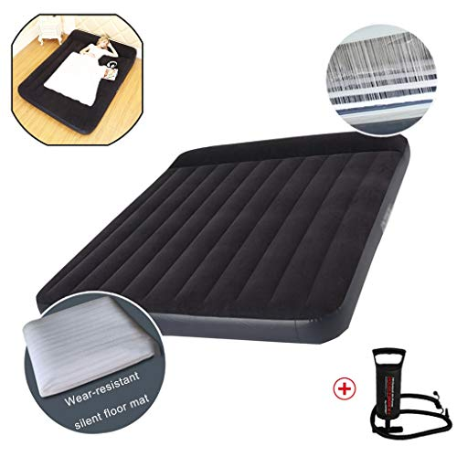 Loungers Air-cushion Bed Household Double Enlarged Folding Mattress Simple Portable Air Cushion Built-in Pillow Solve The Five Major Sleeping Problems (Color : Black+a, Size : 99 * 191 * 25cm)