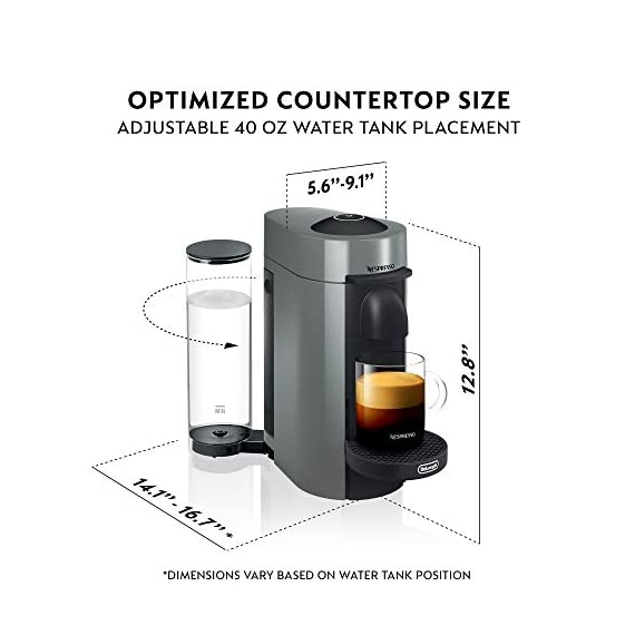 Nespresso VertuoPlus Coffee and Espresso Maker Bundle with Aeroccino Milk Frother by De'Longhi Red 7 Versatile automatic Coffee maker: brew different single-serve coffee cup sizes at the touch of a button depending on your coffee needs - Espresso (1. 35 oz. ), double Espresso (2. 7 oz. ), Gran Lungo (5 oz. ), Coffee (7. 7 oz. ) and alto (14 oz. ). Pour over ice to create your favorite Iced Coffee drinks. Designed for use with Espresso Vertuo capsules Smart Coffee maker: brew the perfect single-serve coffee or Espresso drink time after time, thanks to espresso's Centrifusion (TM) technology using barcodes to deliver the best in-cup results including the perfect crema for large Coffee cup sizes. Simply insert the capsule and enjoy freshly brewed Coffee or authentic Espresso. Single serve Coffee machine: have the ability to create Barista grade brewed single-serve coffee or Espresso cups at the touch of a single button. The one-touch button mechanism delivers the best in-cup result for whatever style coffee or Espresso drink you choose. Designed for use with Espresso Vertuo capsules only.