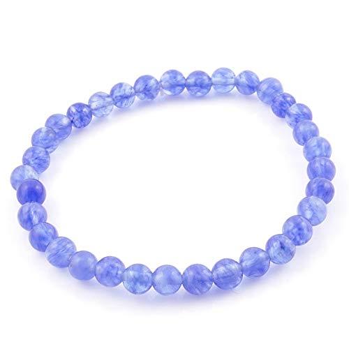 ARITZI – Pulsera elástica con Bolitas de Piedras Naturales con un diámetro de 6 mm - Cuarzo Azul