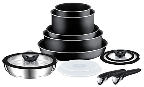 Tefal Ingenio Essential Non-Stick Saucepan Set (Non Induction), 13 Pieces – Black by Tefal