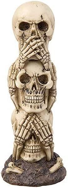 Stacked Skeleton Skull Decoration 3 Skulls Stacked On Each Other Hear No Evil See No Evil Speak No Evil
