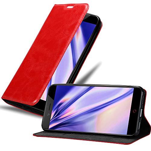 Cadorabo Hülle für ZTE Nubia Z17 Mini in Apfel ROT - Handyhülle mit Magnetverschluss, Standfunktion & Kartenfach - Hülle Cover Schutzhülle Etui Tasche Book Klapp Style