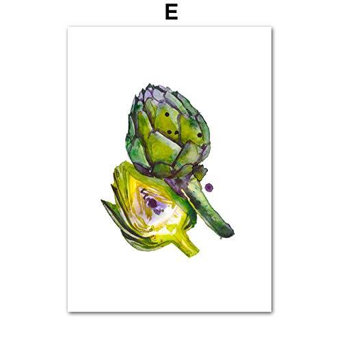 zgmtj Gohipang Acuarela Fruta Vegetal Carteles nórdicos y Arte de la Pared de impresión Lienzo de Pintura de Pared Cuadros para Sala de Estar Cocina Habitación