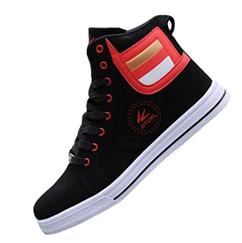 tazimall Mens Round Toe High Top Sneakers Casual Lace Up Skateboard Shoes Red