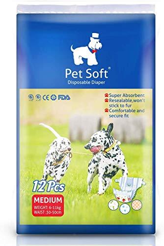 Pet Soft Hundewindeln für Hündinnen – Einweg-Haustierwindeln, super saugfähig, auslaufsichere Passform, Hundewindeln, perfekt für kleine Hunde, 12 Stück (M)
