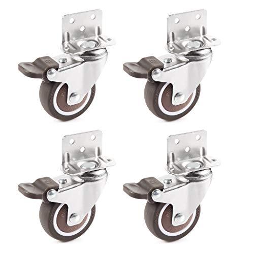 Skelang 4 ruedas giratorias de 50 mm, ruedas con soporte tipo L, ruedas de freno para mesa de café, armario, banco de trabajo, carro, capacidad de carga: 35 kg