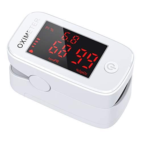 Oximetro Dedo, JOYSKY Pulsioximetro de Dedo Profesional 3 en 1, Saturimetro de Pulso Digital de Lectura Instantánea con Pantalla LED, Medidor de Oxigeno en Sangre Adecuado para Adultos y Niños
