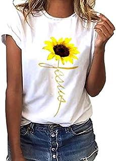 335a54488606ea VICGREY Maglietta Donna Elegante Tumblr estive Tee t Shirt Donna Girasole  Stampa Maglia Donna Manica Corta