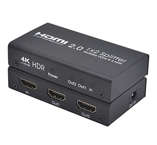 HDMI 2.0 Splitter Unterstützung 4K / 60Hz YUV4: 4: 4 HDR Ultra High Definition 1x2 HDMI Splitter mit einem Eingang und Zwei Ausgängen