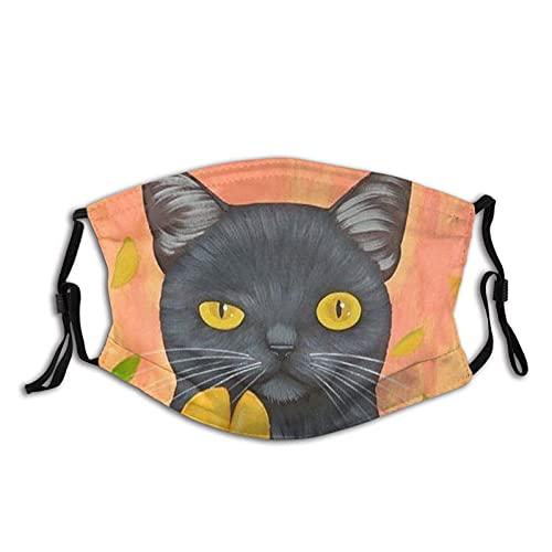 Black Cat Face M-A-S-K con filtros, lavable reutilizable bufanda pasamontañas, para mujeres, hombres, adultos y adolescentes