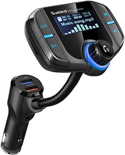 Shiwen BT70 - Transmisor Bluetooth para coche de carga rápida MP3, reproductor de Bluetooth, cargador rápido para coche
