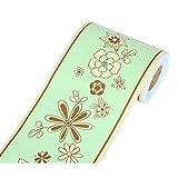 Yoillione - Carta da parati autoadesiva per bordo del bagno, motivo floreale, impermeabile, bordi da parete per cucina, in PVC, con bordo liscio rimovibile