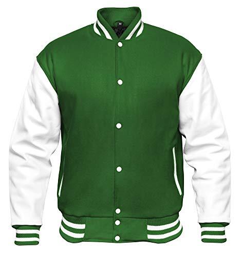 VINTAGE BASICS College Jacke - Unisex Baseball Jacke - Oldschool Varsity Jacke aus Wolle für Herren und Damen Grün M