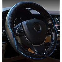 Cubierta de volante de cuero de microfibra para automóvil, 15 pulgadas, negro azul