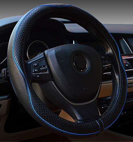 Cubierta de volante de cuero de microfibra para automóvil 15 pulgadas (negro azul)