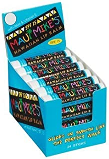 Maui Mike's Lip Balm SPF-15 (24 mixed) Glides on Smooth Like the Perfect Wave. Aloe, Vitamin E - Restore Dry Lips Today! (24 Assorted)
