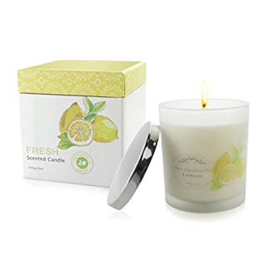 Natural Scented Candle with Organic Oil, Aromatheraphy Candle with Pure Essential Oil, Smokeless Candle, Huge Size Scented Candle (9oz/250g). (Lemon)