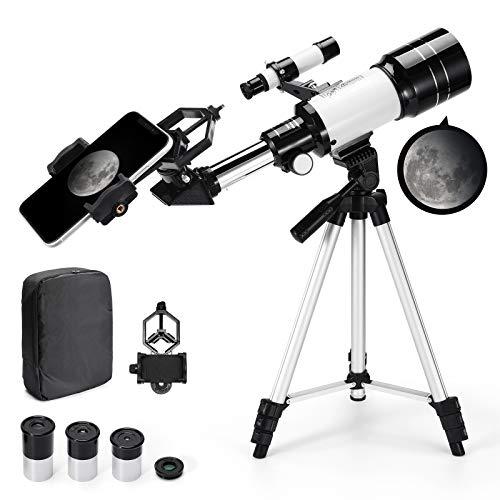 Telescopio Astronómico Zoom 150X HD 300/70 mm de Alta Ampliación Alcance de Viaje con Trípode, Portátil Equipado con Mochila y Adaptador de Teléfono Inteligente para Adultos, Niños y Principiantes