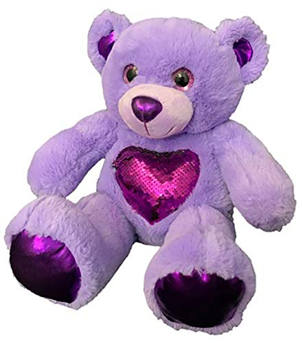 Make Your Own Stuffed Animal Cuddly Soft Glitz The Purple Bear 16 inch Kit with Cute Backpack. No Sewing Required