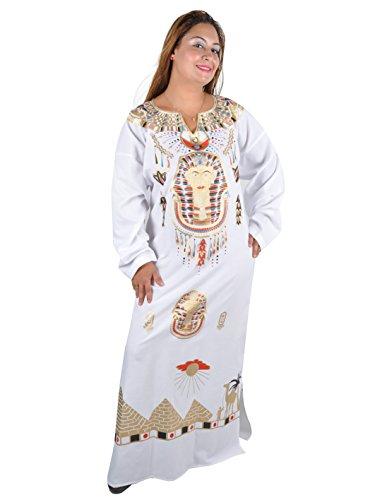 Cleopatra Pharao Kostüm Damen-Kaftan Faschingskostüm Karnevalskostüm Ägypterin Farbe: weiß (56-58 (3XL))