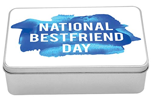 "Lunarable Best Friends Forever Metal Box, National Best Friend Day Typography on Blue Tones Paint Drop, Multi-Purpose Rectangular Tin Box Container with Lid, 7.2"" X 4.7"" X 2.2"", Cobalt Blue and Aqua"