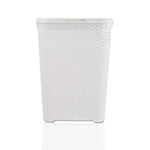 ARPAN 60 Liter Wäschekorb aus Kunststoff in Rattanoptik mit Deckel und Griffen, Plastik, weiß, W44 x D34 x H61 cm