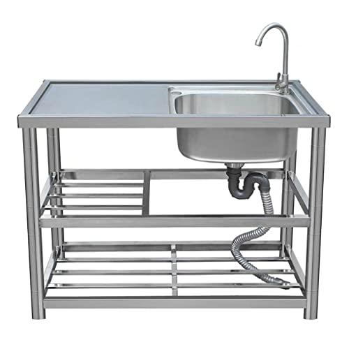 Fregadero de acero inoxidable, fregadero de cocina, fregadero doméstico comercial, fregadero de jardín al aire libre, fregadero de verduras simple, con soporte, plataforma y grifo, tamaño: 90x45x80c