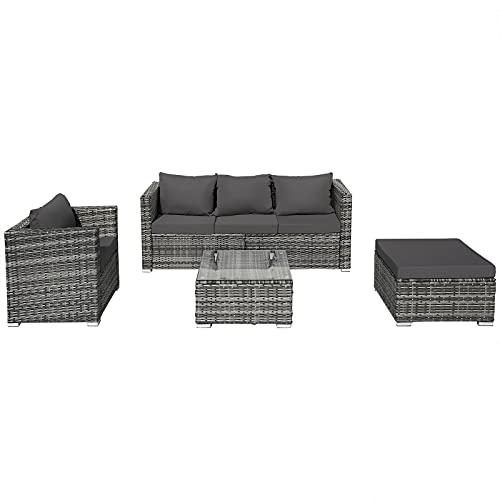 LANGTAOSHA Garten Polyrattan Lounge Set, Punta Cana Gartenlounge Set Für 5 Personen Gartenmöbel Set Mit Sofa, Tisch, Hocker Und Sitzkissen