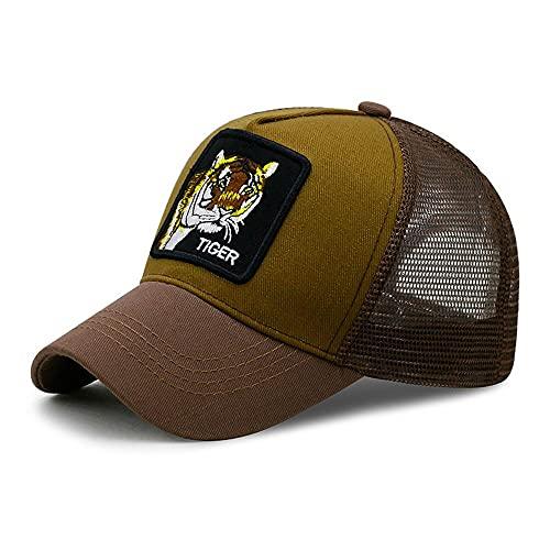 Uteruik Gorra de béisbol con visera ajustable para el sol, sombrero de malla con estampado de animales para hombres y mujeres (#B)