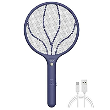 Endbug Rechargeable Fly Swatter Racket Handheld Bug Zapper with LED Light USB Charging Electric Mosquito Fly Insect Killer Indoor Outdoor  Navy Blue