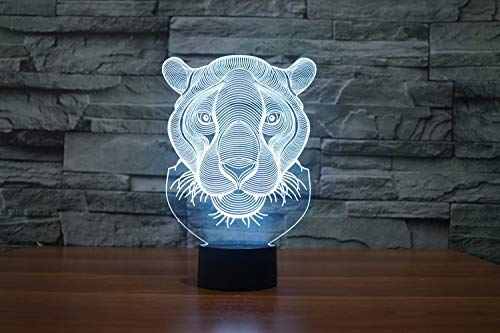 ZJBD YUMEI 3D Illusion Lamp, New Lion Table Lamp 7 Colors Changing Desk Lamp Lamp Led Led Light-Touch (Color : Touch)