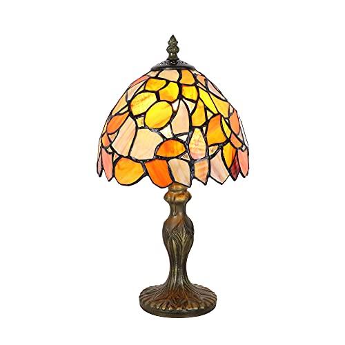 Tokira Lámparas de mesa Tiffany con hoja de arce amarilla, luces de noche de estilo de 8 pulgadas para niños para salón, pantalla de lámpara de vitrales hechos a mano de 20 cm, Bombilla LED Gratis