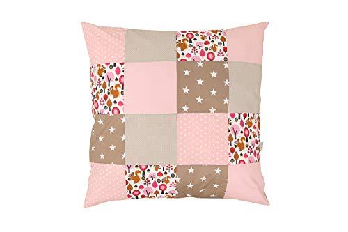 ULLENBOOM ® Baby Bezug 80x80 cm für Bettdecke & Kissen Sand Eichhörnchen (Made in EU) - Bezug aus Baumwolle für Babybettwäsche oder als Kissenbezug, ideal im Kinderwagen