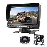 AHD 1080P Kit de cámara de Marcha atrás, Monitor de cámara de Marcha atrás de 7 '' con cámara de Respaldo Impermeable, visión súper Nocturna para Camiones, automóviles y vehículos más Grandes