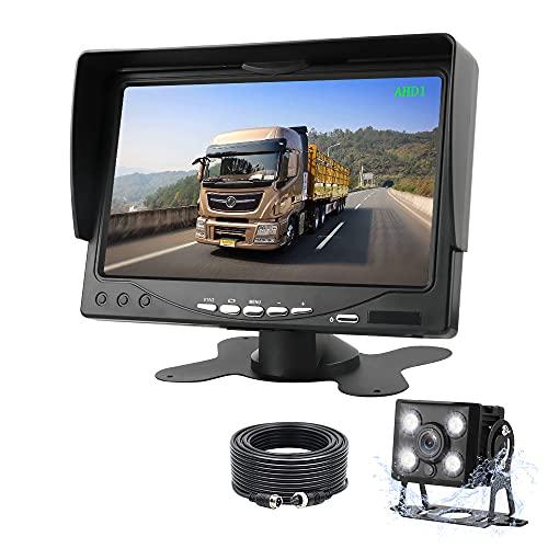 AHD 1080P Kit de Caméra de Recul Moniteur de Caméra de Recul pour Voiture 7 '' avec Capteur de Lumière LED, Caméra de Recul étanche IP68 Supervision pour Voiture Camping Car/Camion/RV/Remorques